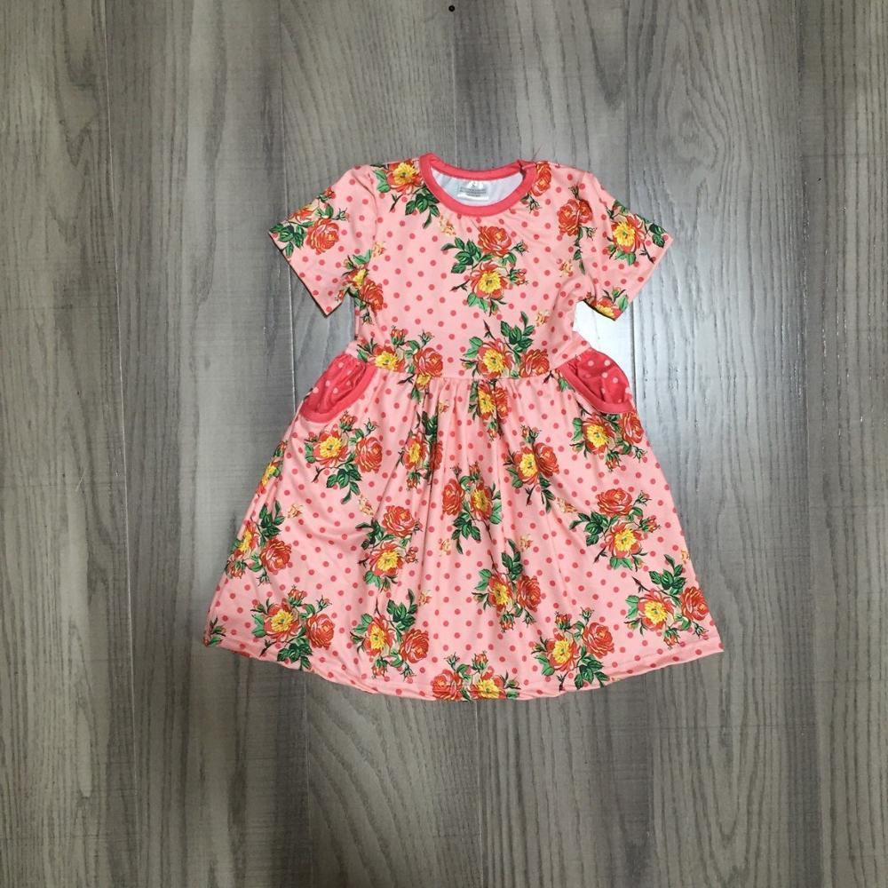 Baby Girls Summer Floral Dress Clothing Girls Milk Silk Dress Girls Classic Dress Wholesale
