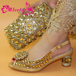 Gold Farbe Schuh und Passende Tasche für Nigeria Party Afrikanische Hochzeit Schuhe und Tasche Set Italienische Frauen Hochzeit Schuhe und tasche