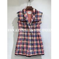 Women's 2020 Sleeveless Retro Slim Tweed Jumpsuit High Quality Lapel sleeveless silk lined colorful plaid tweed jumpsuit