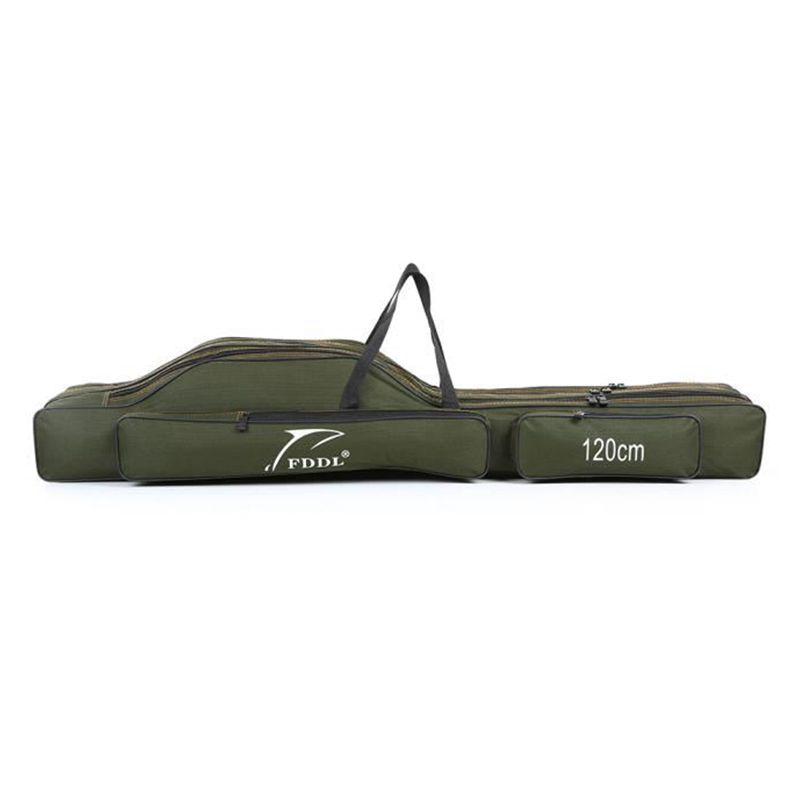 Portable fishing storage bag Portable folding canvas carrier for tools Equipment bag for mixed cane tackle Three layers 120cm|Fishing Bags| |  - title=