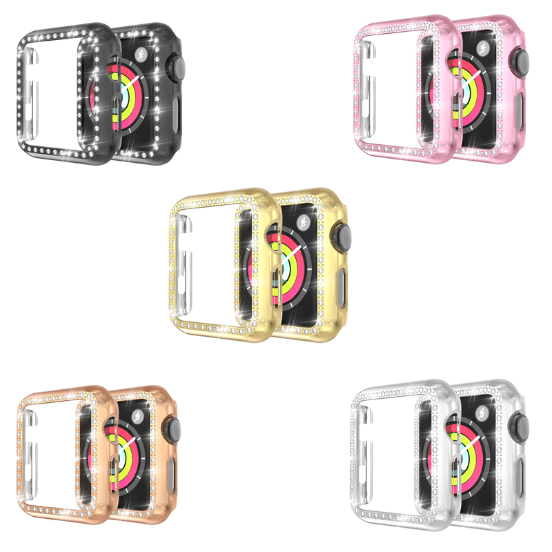 Diamond Case Strap for Apple watch band 42mm 38mm Screen Protective 4 3 2 1 44mm 40mm iwatch Protector Shell watch Accessories image