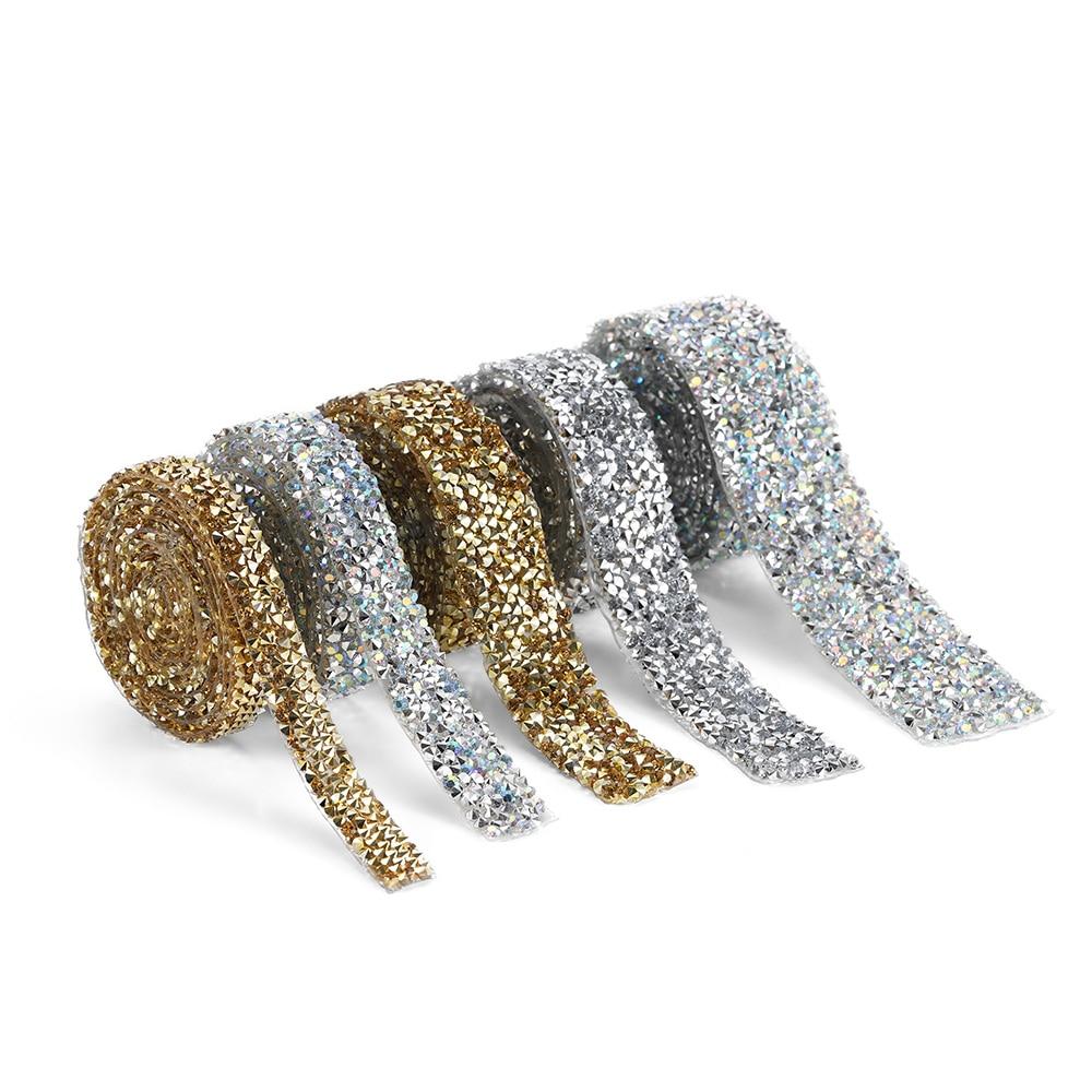 1 Yard ruban de garniture coloré multi-taille avec strass fer sur Applique brillant cristal ruban de strass à chaud pour bijoux à bricoler soi-même