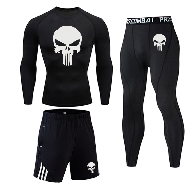 3 Piece Men's Full Suit Tracksuit MMA Tactics winter thermal underwear Skull rashgard Male Compression sport Tights jogging suit 1