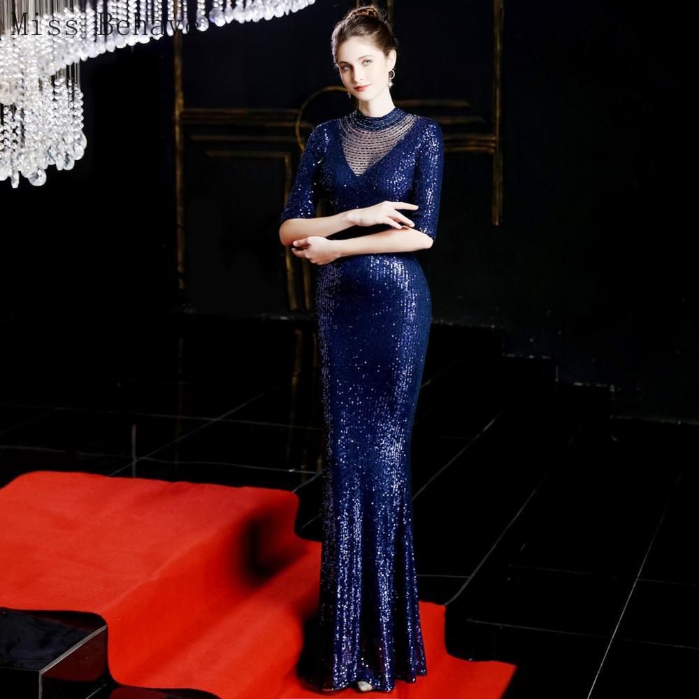 DD JYOY Elegant O Neck Mermaid Evening Dress Long 2020 Half Sleeve Open Back Trumpet Formal Dress Women Evening Gown