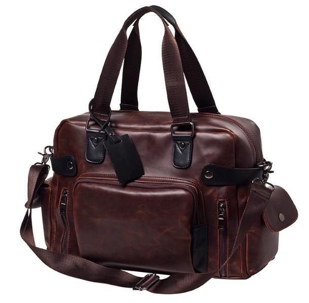 Vintage Trendy Men Shoulder Briefcase Large Capacity Laptop Business Bag Mens Chic Leather Outgoing Bags Bolso Hombre DF319