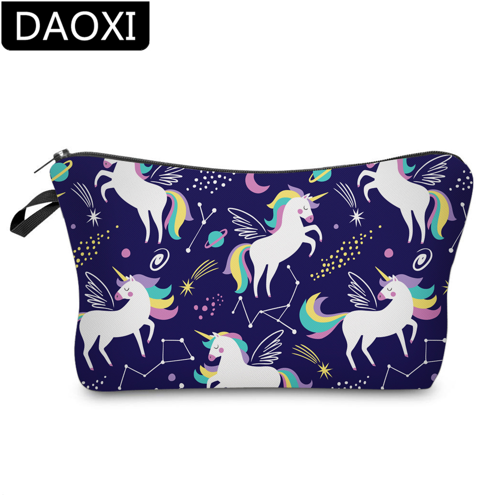 DAOXI 3D Printing Unicorn Cosmetic Bags Waterproof Animal Prints Makeup Bag Toiletry Organizer Portable Pouch DX51489