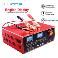 600W 12V 24V 6 400AH Car Battery Charger 12A 25A AGM GEL Lead Acid Li ion Lithium Motorcycle Auto Batterie Power Supply