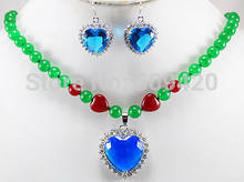 Free Shipping Wholesale>>>JJ6543 charm 8mm green red stone necklace & heart blue zircon 18KGP pendant earrings set(China)