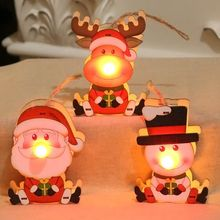 Wooden Christmas Crafts Color Painted LED Light Up Pendant Tabletop Ornaments Decoration
