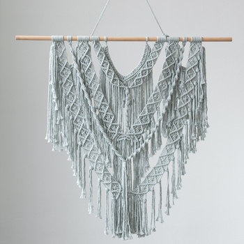 Macrame Wall Decor Tapestry Wall Hanging Boho Bohemian Chic Home Decoration Woven Grey Handmade Living Room Apartment Dorm braided leaf macrame woven tapestry wind chimes bohemian room decor wall hanging art beautiful apartment dorm room decoration