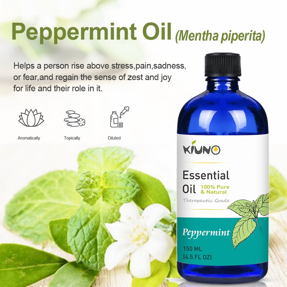 KIUNO 150ML Peppermint Essential Oil,Therapeutic Grade Aromatherapy Oils,Pure Oil For Diffusers,Massage,Cleaning Products
