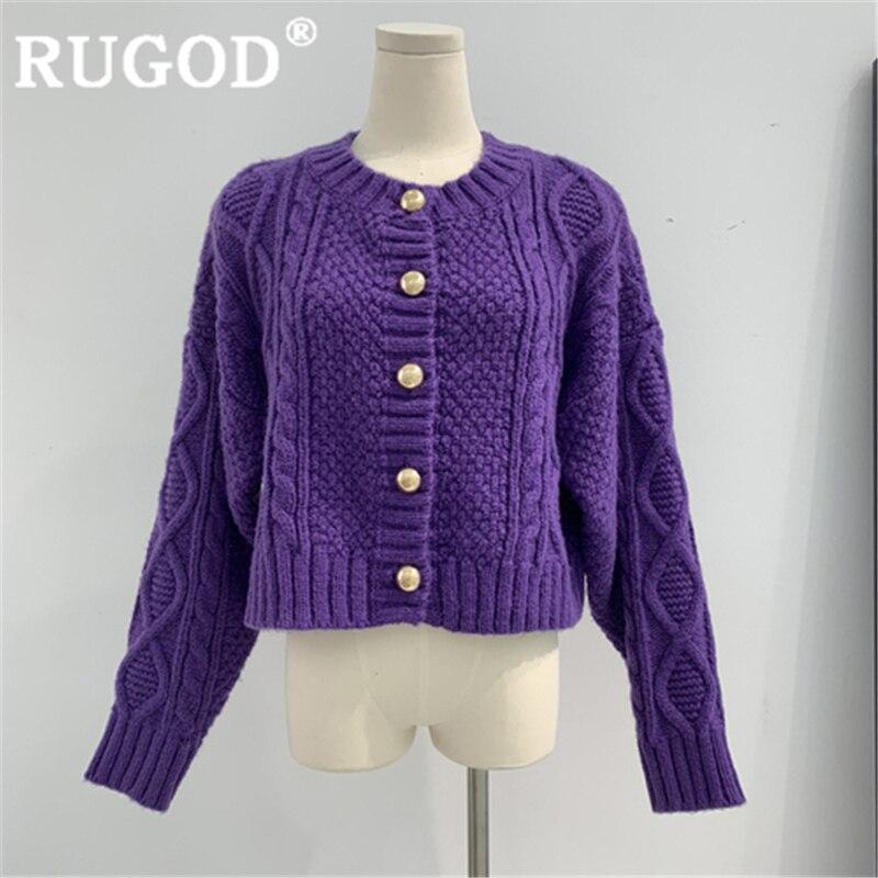 RUGOD 2019 New Winter Snow Warm Solid Sweater Cardigans Women O Neck Golden Button Knit Coat High Waist Fashion Femme Elegant