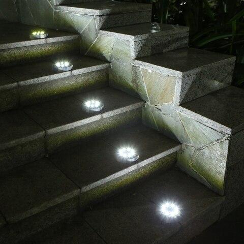 8 leds jardim deck disco lampada