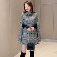 European station 2019 autumn and winter new women's lapel double breasted woolen houndstooth cloak fashion coat