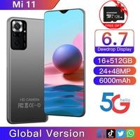 Versione globale Xio mi Mi 11 Smartphone Android da 6.7 pollici 16 512G 6000mAh batteria cellulare Google Play WiFi 4G 5G Celular sbloccato