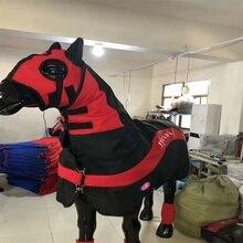 Съемная ветрозащитная одежда для лошади horsecloth одежда с дизайном «Лошадь» коврик с головным чехлом и леггинсами