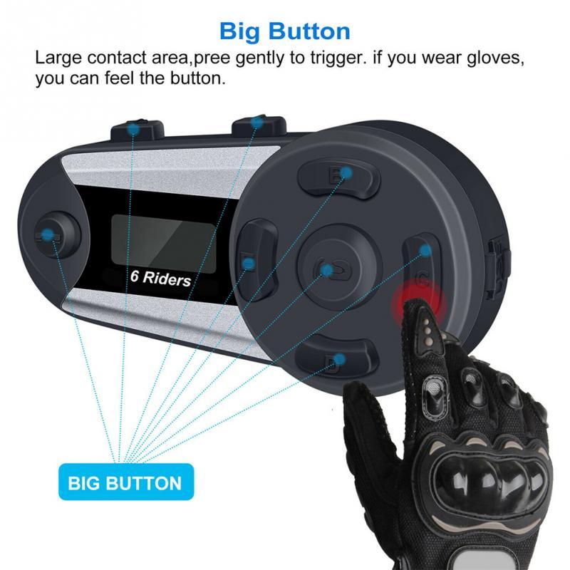 V6 Plus Motorcycle Helmet Bluetooth Headset Intercom 6 Rider 1200M Wireless Intercomunicador BT Interphone Waterproof Microphone