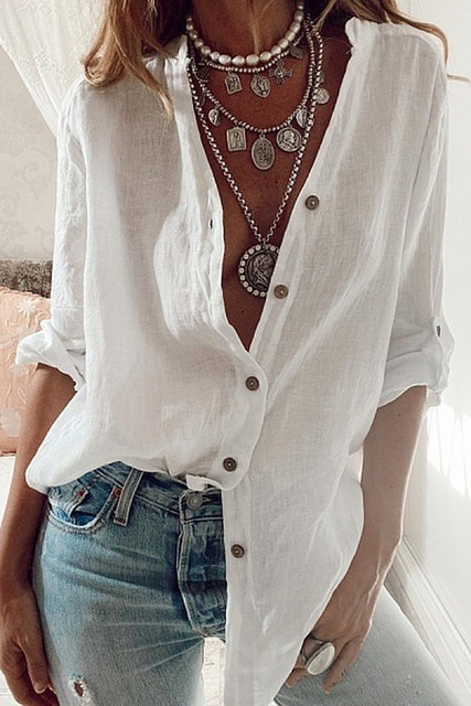 Fashion New Women Shirts White S-5XL Plus Size Autumn Tops Casual Loose Solid Color Cotton Rollable Sleeve V-neck Blouses Blusas