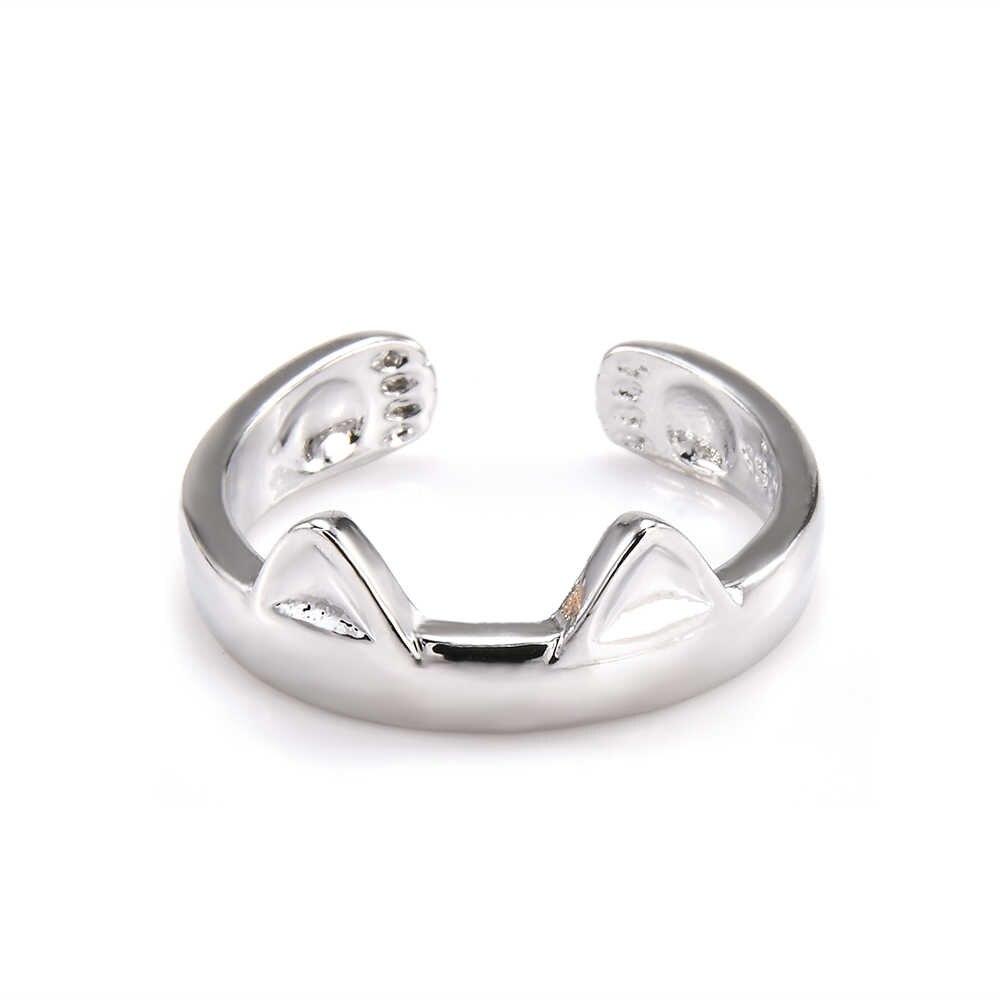 シルバー猫耳リング親指リング調節可能なペットギフトジュエリーアクセサリー指輪 Anillos ゴシックバゲファム