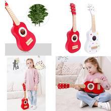 6 Strings Guitar/4 Strings Ukulele 21inch Wooden Guitar Ukulele Children Kids Beginner Music Funny Toy Gift Play Set