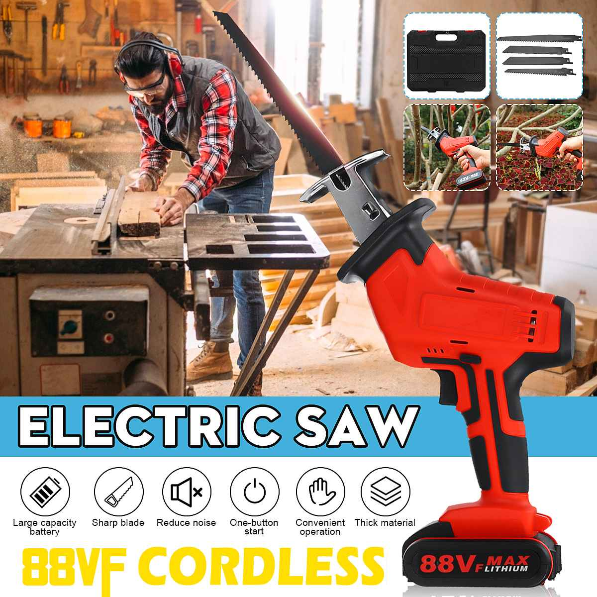 88V Cordless Lithium Battery Reciprocating Saw Wood/Metal Cutting Saw Saber Saw Portable Electric Saw Rechargeable Power Tool