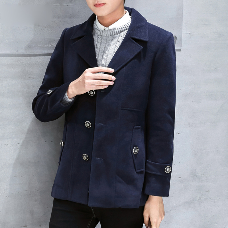 Jacket Woolen For Men's Winter Coat Men Short Overcoat Korean Man Coats Abrigos Casaco Masculino KJ250