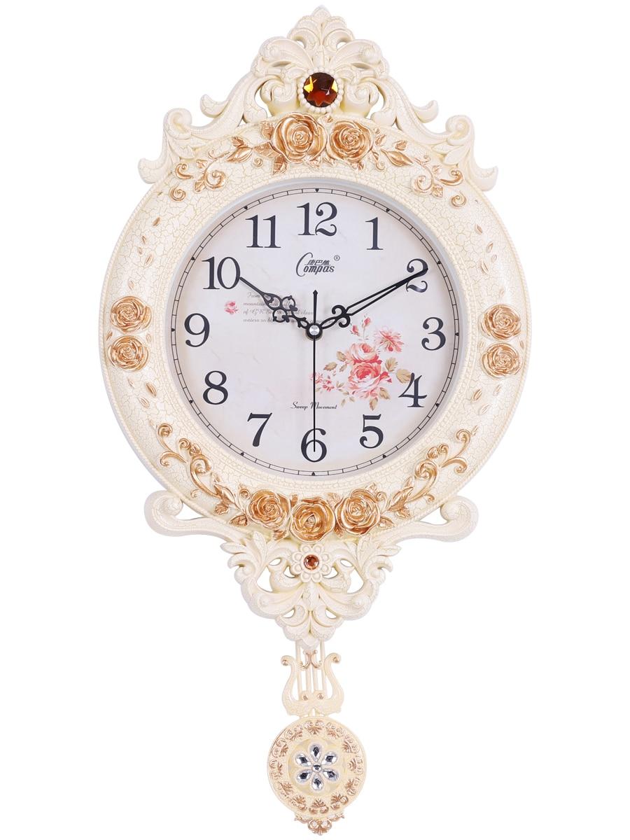 Grande horloge murale Vintage, style européen, décoration de salon, luxe, silencieux, Shabby, Chic, SC316