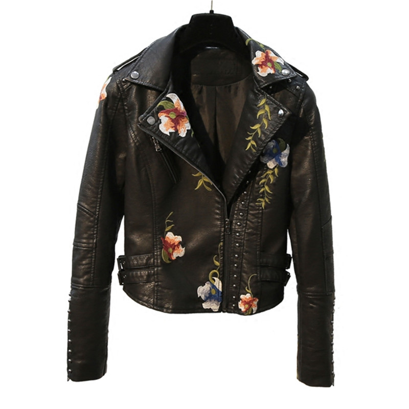 2019 New Women Autumn Winter Rivet Zipper Embroidery PU   leather   Jacket Black Short Motorcycle Faux   Leather   Coat Slim Cool Jacket