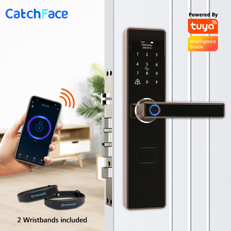 Tuya Fingerprint Smart Door Lock  Doorbell Electronic Lock  Wifi Code RFID Card Key Digital Deadbolt Lock For Home Security
