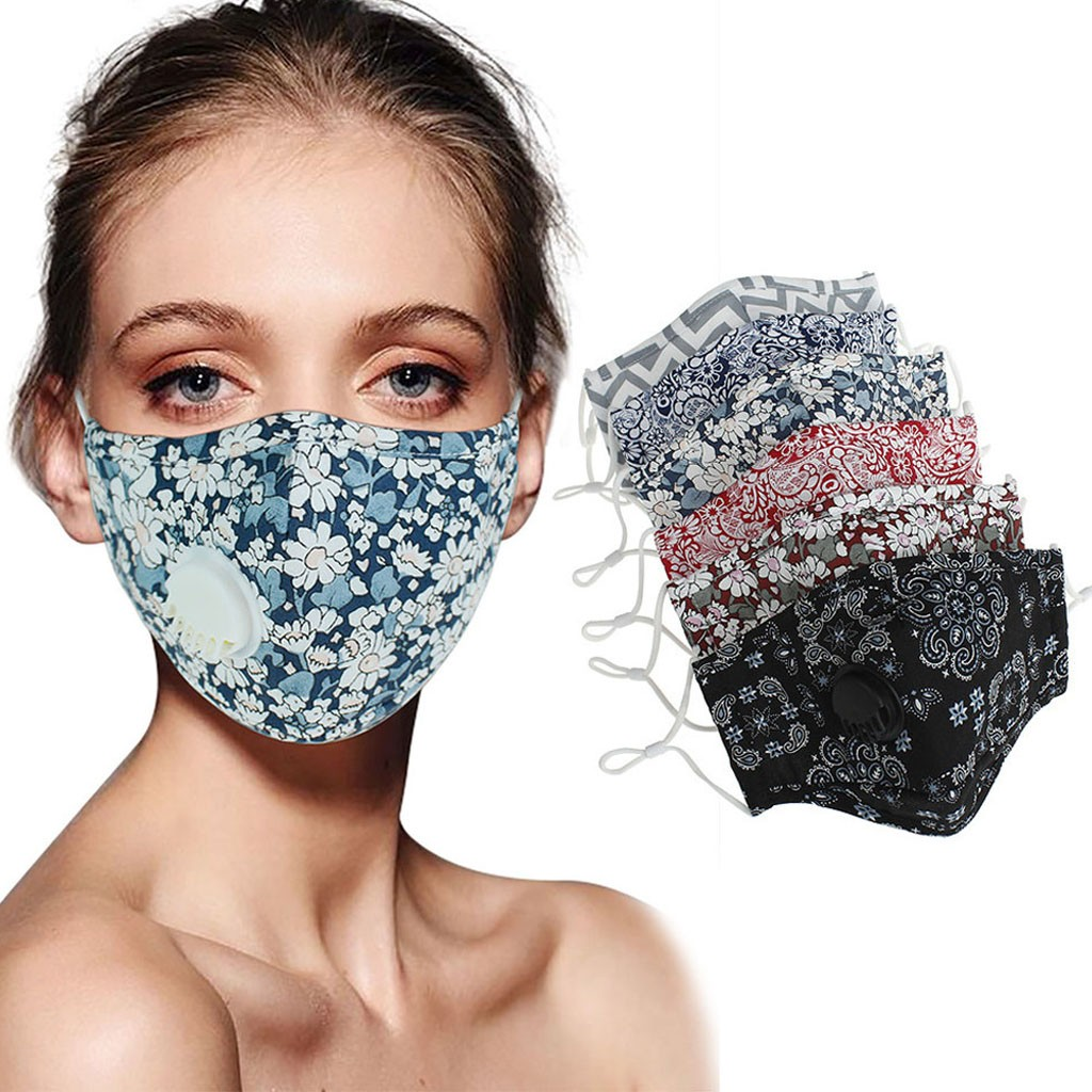 Unisex Printed Cotton Protective Mask With Breathing Valve Breathable Mask Washable Respirator Mascarillas Masque