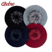 Geebro, женские зимние осенние шапки с искусственным мехом, помпон, громоздкий вязаный Французский Берет для художника, одноцветные шапки с помпонами BL006