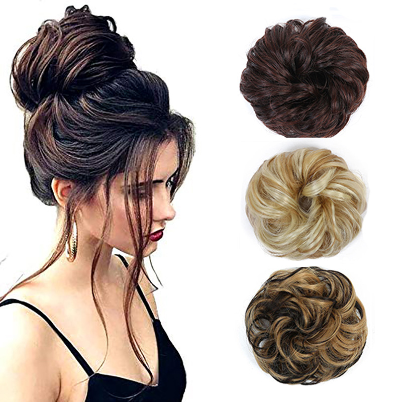 MSTN Curly Chignon With Rubber Band Heat Resistance Hair Bag Synthetic Hair Bun Elastic Donut Hair Bows Headwear