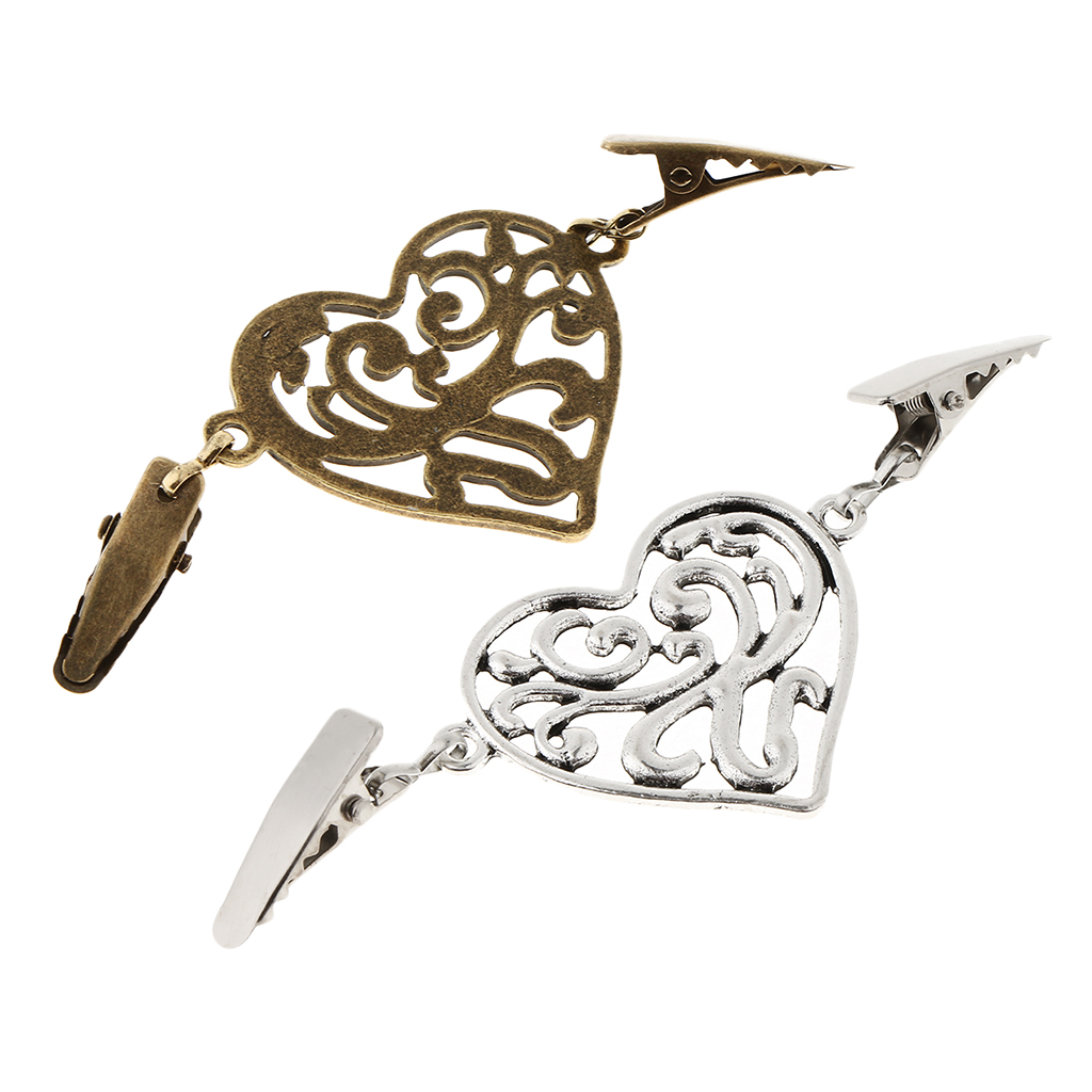 Alloy <font><b>Heart</b></font> Shape Cardigan Shrug Sweater Pin Clips <font><b>Shirt</b></font> Collar Cinch Clothing Clasp Brooch image