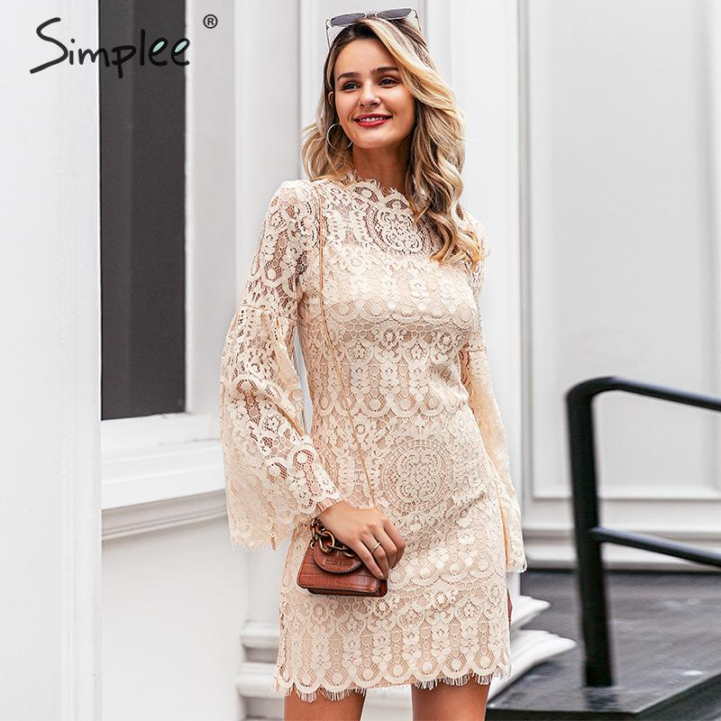 Simplee elegant lace embroidery dress S19DR3261