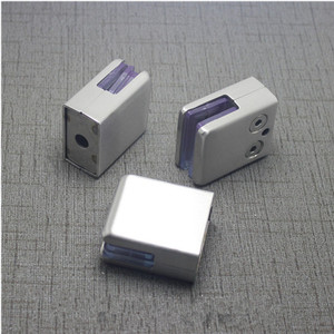 Image 2 - 4Pcs Stainless Steel Square Clamp Holder Bracket Clip For Glass Shelf Handrails Silver