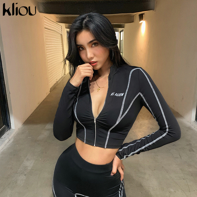 kliou women 2 pieces set fitness tracksuit long sleeve zipper crop top+leggings fashion reflective letters sportswear outfits 3