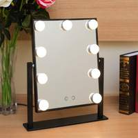 Touch LED Make UP Mirror Standing vanity hollywood lighted Table mirror Metal Rotate 9 Dimmers Lamps maquillage princess espejo