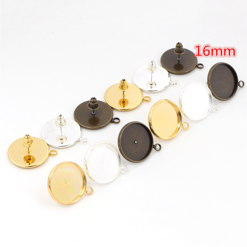 16mm 10pcs/Lot Two Style 3 Colors Plated Earring Studs,Earrings Blank/Base,Fit 16mm Glass Cabochons,earring Setting