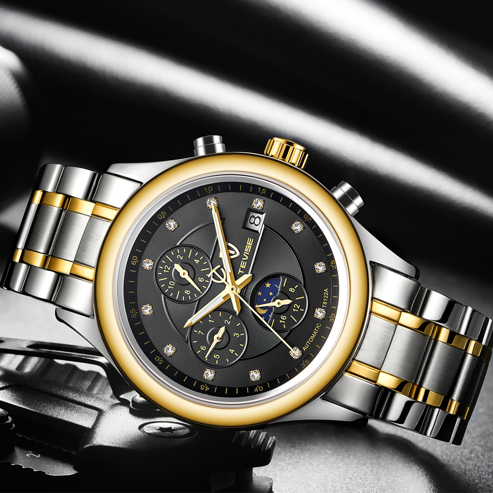 TEVISE Automatic Mechanical Watches Men Top Brand Luxury Fashion Waterproof Sports Hours Business WristWatch Relogio Masculino in Mechanical Watches from Watches