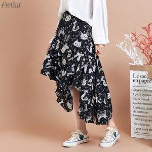 Image 2 - ARTKA 2020 אביב חדש נשים חצאית אופנה חתול הדפסת חצאית סדיר עיצוב שיפון חצאיות אלגנטי פרע חצאית נשים QA15297Q
