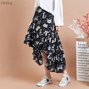 Image 2 - ARTKA falda con estampado de gato para mujer, faldas de gasa con diseño irregular, con volantes, 2020
