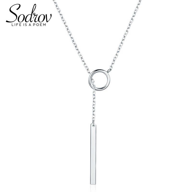 Sodrov 925 prata esterlina barra pingente colar moda jóias presente dos namorados para mulher hn017