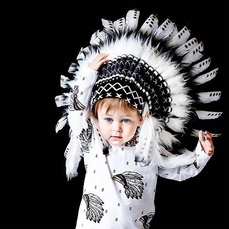 Indian Style Hat By 24 Pieces Feather Baby Fashion Toy Child Shooting Props Hat Crown Headdress Party Decoration