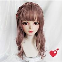 (Wan 04)Female Sweet Girl Resin Half Head Kigurumi Mask With BJD Eyes Cosplay Japanese Anime Role Lolita Mask Crossdress Doll