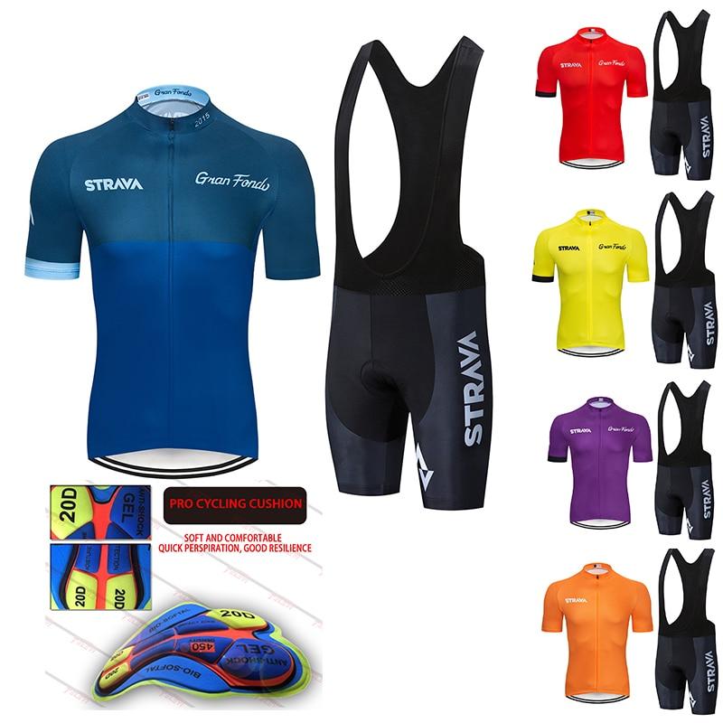 2020 stravaプロチーム夏ジャージセット自転車の衣類通気性の男性半袖シャツバイクビブショーツ 20Dゲルパッド