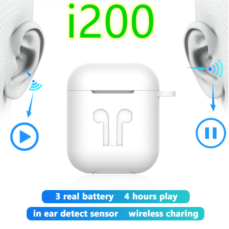 i200 <font><b>tws</b></font> 1:1 Replica aire 2 Wireless Earphone Tap Control headset <font><b>Super</b></font> Bass Earbuds PK i10 i12 <font><b>i30</b></font> i80 i100 i500 fone de ouvido image