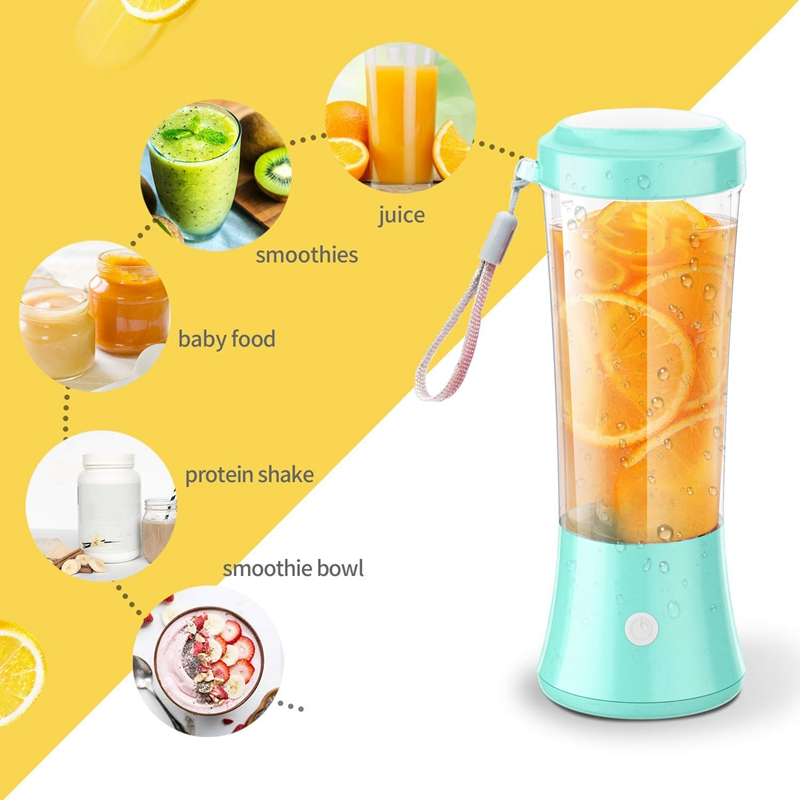 Top Deals Portable Blender Personal Size Blender Juicer Cup For Juice Crushed-Ice Smoothie Shake, Two Rotating Speed, USB Rechar