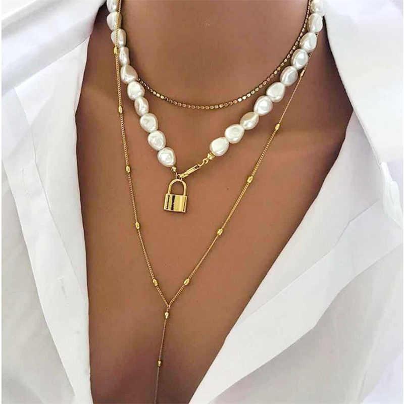 2 sztuk/zestaw eleganckie wielowarstwowe sztuczna Pearl Choker naszyjnik zestaw Boho blokada wisiorek długi łańcuch Neckklace kobiety akcesoria biżuteria