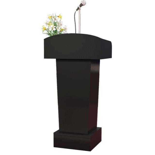 Reception Desk, Stage, Speech  Simple Modern Conference Room,    Manager And
