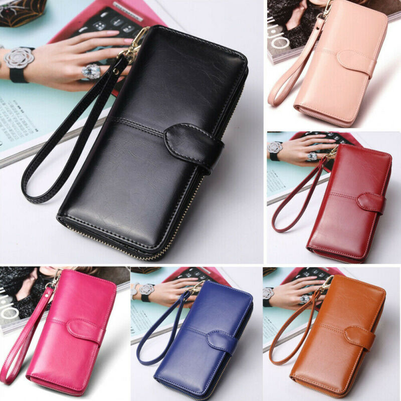 7 Colors Women's Long Leather Clutch Solid Wallet Large Capacity Purse Card Holder Zipper